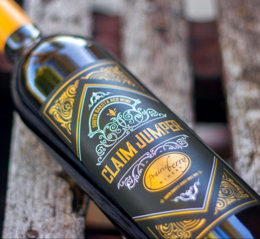 A bottle of Claim Jumper, a sweet wild grape wine made by Prairie Berry Winery