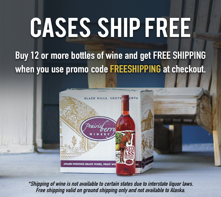 Buy 12 or more bottles of wine and GET FREE SHIPPING when you use promo code FREESHIPPING at the checkout. Shipping of wine is not available to certain states due to interstate liquor laws. Free Shipping offer is valid on ground shipping only and is not available in Alaska.